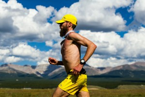 """LEADVILLE, CO - AUGUST 16: Runner Rob Krar #376 is seen running towards the Outward Bound Colorado aid station during the 2014 Leadville Trail 100 ultramarathon on Saturday, August 16, 2014 in Leadville, Colorado. (Photo by Kent Nishimura/The Denver Post)"""